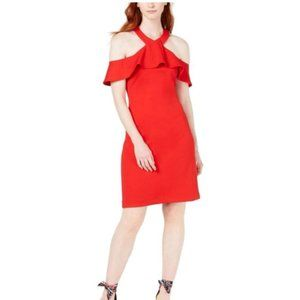 Womens Jurnee Ruffle Cold Shoulder Dress Red